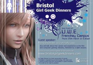 Poster for Bristol Girl Geek Dinner #2