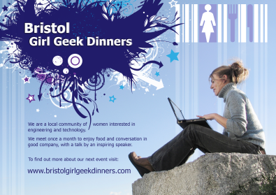 A generic poster for girl geek dinners in Bristol